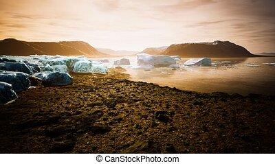 glace, été, groenland, icebergs