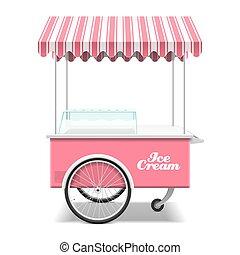 glace, charrette, crème
