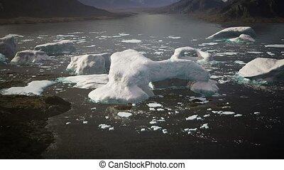 glace, icebergs, été, groenland