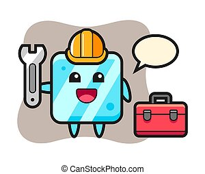 glace, mascotte, dessin animé, cube, mécanicien