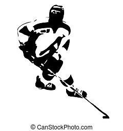 glace, silhouette, hockey