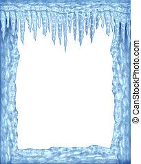 glace, surgelé, vide, secteur, cadre, blanc, glaçons