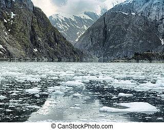 glacially, poli, scénique, alaska, glace, tracy, côtier, fjord, flotter, falaises, escarpé, bras, paysage