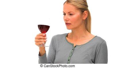 glas, apprécier, désinvolte, femme, blond