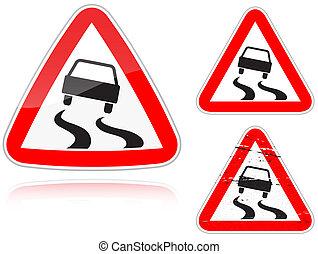 glissant, variantes, -, panneaux signalisations