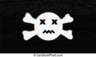 glitch, animation., crâne, boucle, numérique, holographic, sourire, hud, symbole, vieux, écran tv, interférence