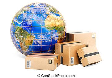global, colis, expédition, globe., 3d, la terre, rendre