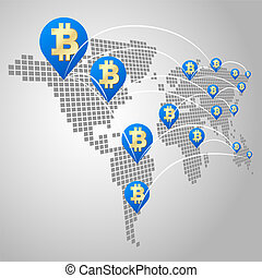 global, concept, bitcoin, business
