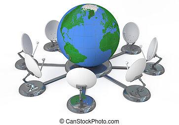 global, concept, télécommunications