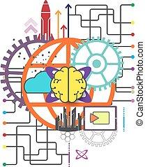 global, concept, technologie, réseau