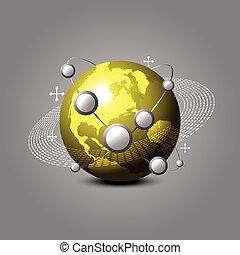 global, doré, concept, communiquer