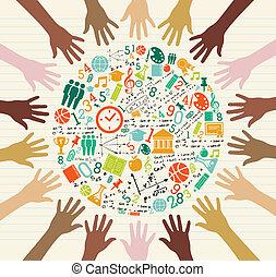 global, education, humain, hands., icônes