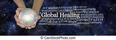 global, guérison, associé, mot, nuage, mots, concept