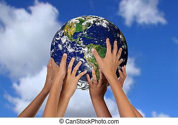 global, la terre, avenir, concept, mère
