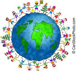 global, noël, gosses