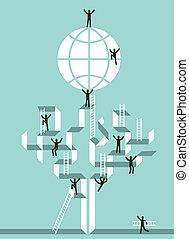 global, reussite, escalier, business