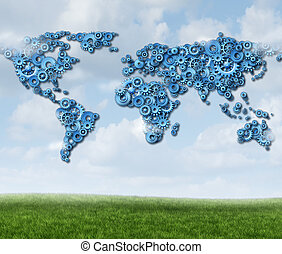 global, technologie, nuage
