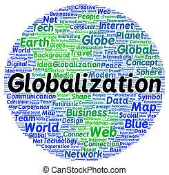 globalisation, mot, forme, nuage