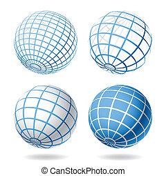 globe, éléments, conception
