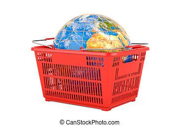 globe., 3d, achats, la terre, concept, global, panier, rendre