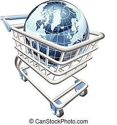 globe, achats, concept, charrette