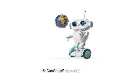 globe, animation, robot, 3d