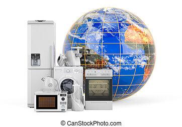 globe., appareils, cuisine, 3d, rendre, global, la terre, achats, ménage, concept