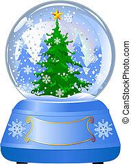 globe, arbre, neige, noël