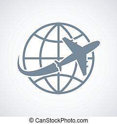 globe, avion, voyage, icône