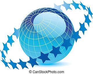 globe bleu, étoiles
