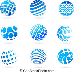 globe bleu, 3d, collection, icônes