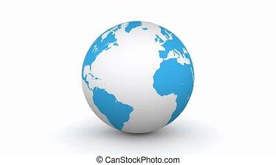 globe bleu, tourner, 3d