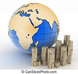 globe, boîtes, carton