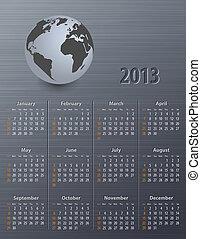 globe, calendrier, 2013