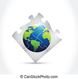 globe, conception, puzzle, illustration