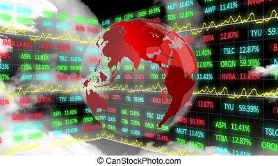 globe, données, marché, rotation, enregistrement, nombres, stockage, sur, animation, graphiques, exposer