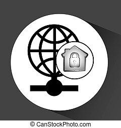 globe, données ordinateur, protection, icône