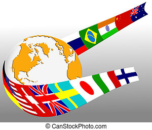 globe, drapeau