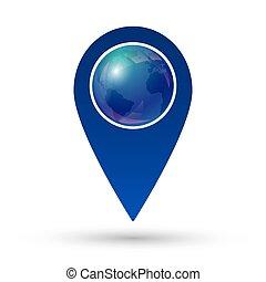 globe, emplacement, icône