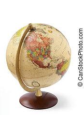 globe, haut, isolé, fond, fin, blanc