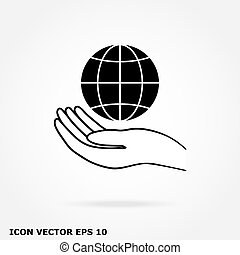 globe, icône, main