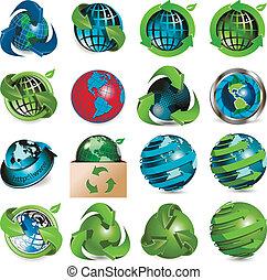 globe, icônes