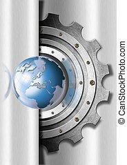 globe, industriel, métal, engrenages, gabarit
