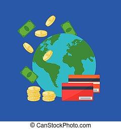 globe, la terre, argent