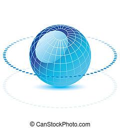 globe, ligne, pointillé