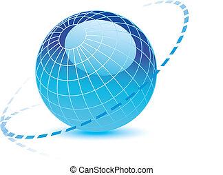 globe, lignes, pointillé