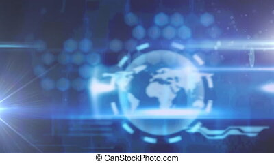 globe, lumière bleue, animation numérique, contre, fond, tache