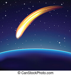 globe, météore, (vector), espace