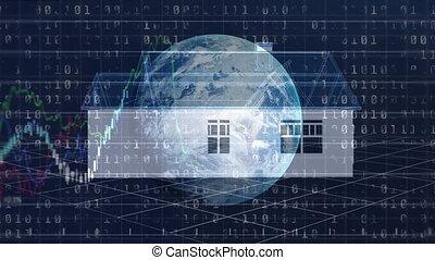 globe, marché, rotation, modèle, fond, stockage, sur, animation, maison, exposer, 3d