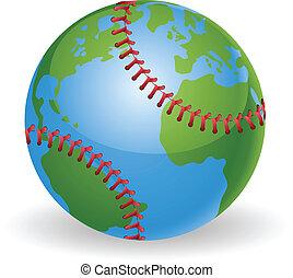 globe mondial, concept, boule base-ball